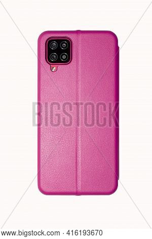 A Female Smartphone In A Pink Leather Case On A White Background.modern Smartphone In A Pink Leather