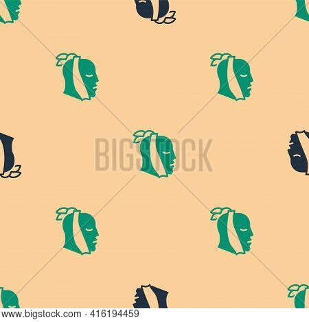 Green And Black Toothache Icon Isolated Seamless Pattern On Beige Background. Vector