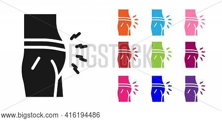 Black Abdominal Bloating Icon Isolated On White Background. Constipation Or Diarrhea. Set Icons Colo