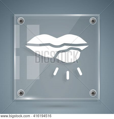 White Herpes Lip Icon Isolated On Grey Background. Herpes Simplex Virus. Labial Infection Inflammati