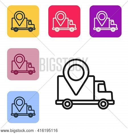 Black Line Delivery Tracking Icon Isolated On White Background. Parcel Tracking. Set Icons In Color