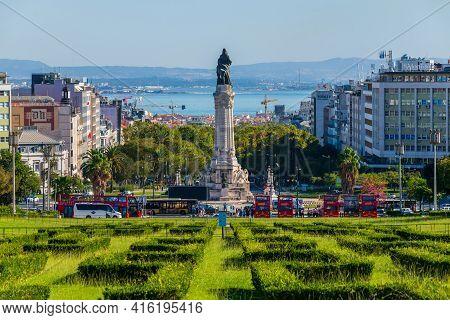 Portugal, Lisbon, October 09, 2018: Eduardo Vii Park In Center Of Lisbon, Portugal