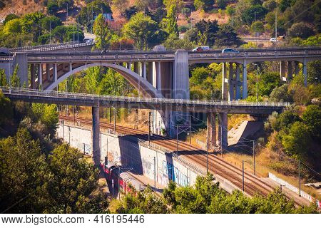 Portugal, Lisbon, October 09, 2018: Panoramic View On Lisbon. Travel Portugal. Roads And Bridges In