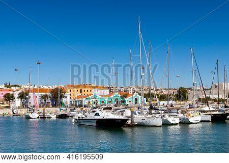 Portugal, Lisbon, October 08, 2018: Marina In The Belem Neighborhood On The River Tagus Lisbon.