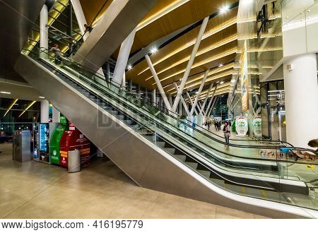 Russia, Rostov-on-don, 17 September 2019: Clean Escalator Closeup At The Airport. Beautiful Modern E