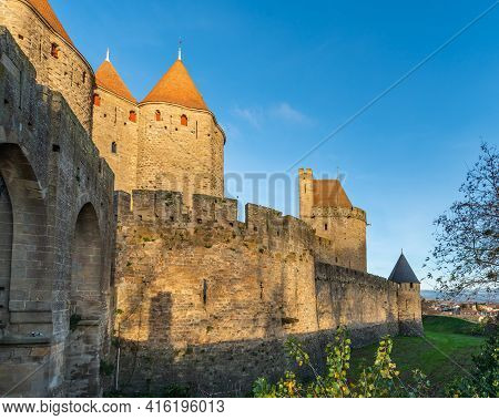 View To The Wall From The Historical Castle Carcassone- Cite De Carcassone At The Morning