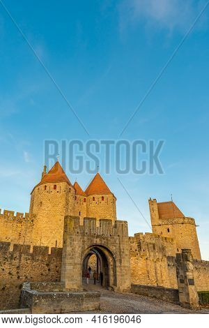 View To The Entrance With The Tower From The Historical Castle Carcassone- Cite De Carcassone, Verti