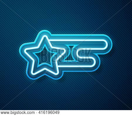 Glowing Neon Line Falling Star Icon Isolated On Blue Background. Shooting Star With Star Trail. Mete