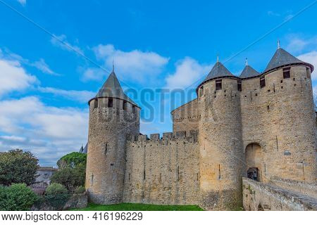 View To The Entrance With The Bridge From Left And The Tower, Historical Castle Carcassone - Cite De