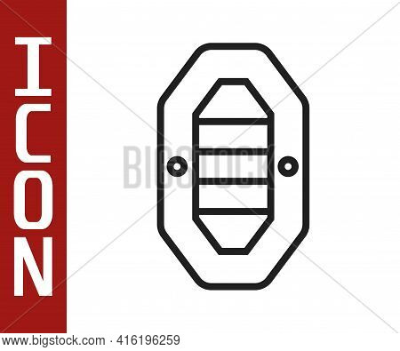 Black Line Rafting Boat Icon Isolated On White Background. Inflatable Boat With Paddles. Water Sport