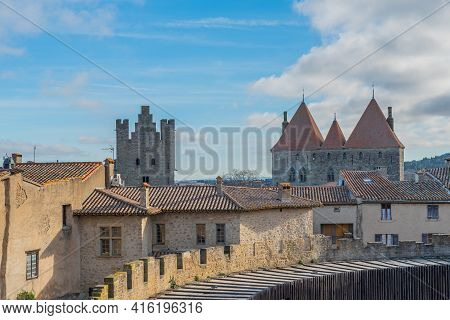View To The Tower From The Historical Castle Carcassone- Cite De Carcassone, Background Blue Sky