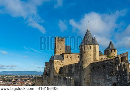 View To The Historical Castle Carcassone - Cite De Carcassone - With The Towers, Background Blue Sky