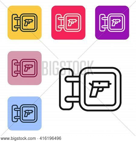 Black Line Hunting Shop With Rifle And Gun Weapon Icon Isolated On White Background. Supermarket Or