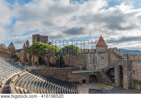Carcassone, France - December 28, 2019: View To People Walking On The Wall At The Historical Castle