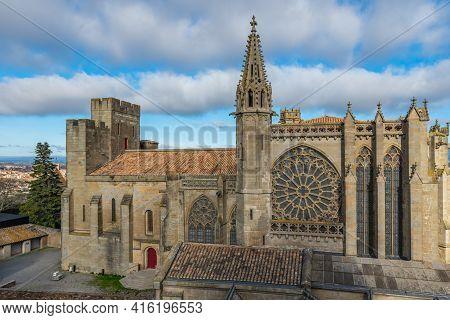 The Basilika Of Saints Nazarius And Celsus Church From The Historical Castle Carcassone- Cite De Car