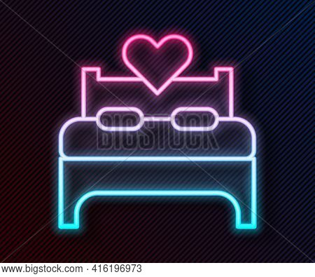 Glowing Neon Line Bedroom Icon Isolated On Black Background. Wedding, Love, Marriage Symbol. Bedroom