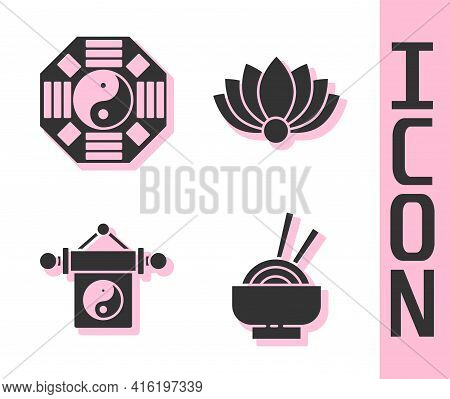 Set Asian Noodles In Bowl, Yin Yang, Yin Yang And Lotus Flower Icon. Vector