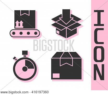 Set Carton Cardboard Box, Conveyor Belt With Cardboard Box, Fast Time Delivery And Cardboard Box Wit