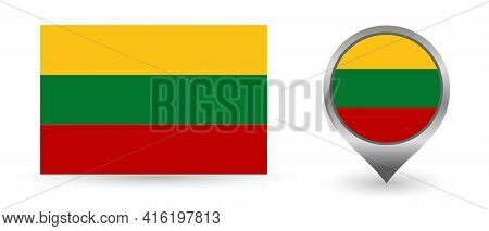 Vector Flag Lithuania. Location Point With Flag Lithuania Inside.
