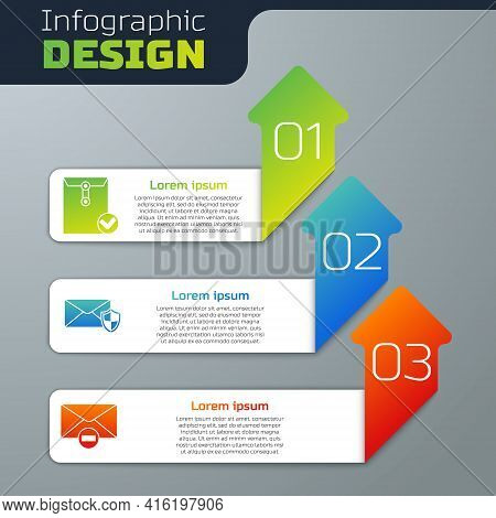 Set Envelope And Check Mark, Envelope With Shield And Delete Envelope. Business Infographic Template