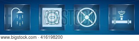 Set Shower, Manhole Sewer Cover, Industry Valve And Industry Pipe And Valve. Square Glass Panels. Ve