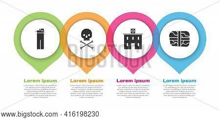 Set Lighter, Skull On Crossbones, Medical Hospital Building And Package With Cocaine. Business Infog