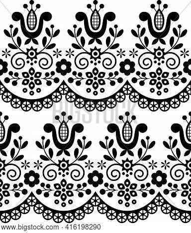 Retro Polish Folk Art Vector Seamless Textile Or Fabric Print Pattern, Black And White Floral Decora
