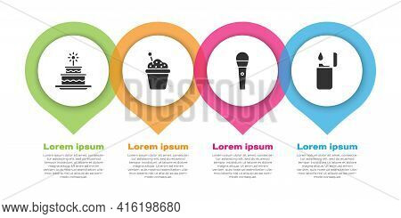 Set Cake With Burning Candles, Cake, Karaoke Microphone And Lighter. Business Infographic Template.