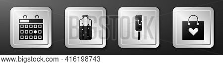 Set Birthday Calendar, Mulled Wine, Ice Cream And Shopping Bag With Heart Icon. Silver Square Button