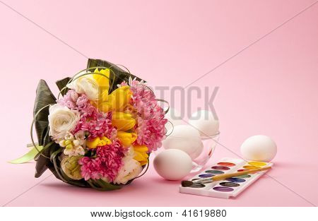 White Ester Eggs With Brush And Paint