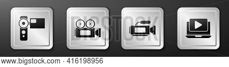 Set Cinema Camera, Cinema Camera, Cinema Camera And Online Play Video Icon. Silver Square Button. Ve