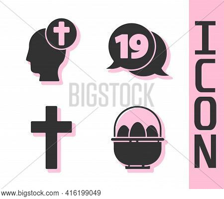 Set Basket With Easter Eggs, Human Head With Christian Cross, Christian Cross And Speech Bubble With