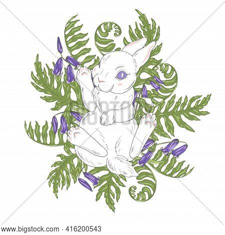 White Little Rabbit Among Flowers And Leaves, Cute Bunny Among Fern Leaves, Vector Illustration