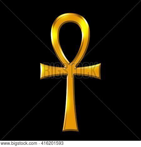 Golden Ankh Symbol, Key Of Life Over Black. Breath Of Life, Key Of The Nile, Crux Ansata. Cross With