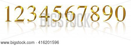 Golden Numbers, From One To Zero Over White. Ten Gold Colored, Metallic Shimmering And Three-dimensi