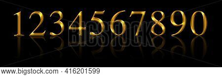 Golden Numbers, From One To Zero Over Black. Ten Gold Colored, Metallic Shimmering And Three-dimensi
