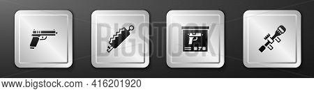 Set Pistol Or Gun, Trap Hunting, Military Ammunition Box And Sniper Optical Sight Icon. Silver Squar