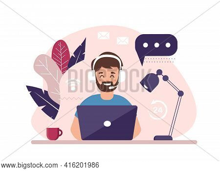 Contact Us. Man With Headphones And Microphone With Computer. Concept Illustration For Support, Assi