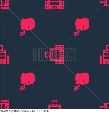 Set Vomiting Man And Medical Hospital Building On Seamless Pattern. Vector