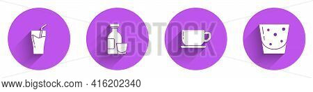 Set Glass Of Juice, Alcohol Drink Rum, Coffee Cup And Rum Icon With Long Shadow. Vector