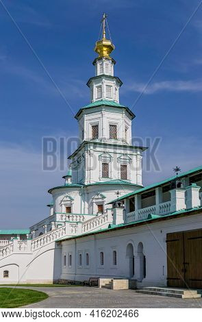 Istra, Russia - September 12, 2017:  Steeple Of Multilevel Church Above Entrance Gate Of Orthodox Ne