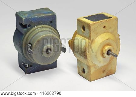 Two-contact Model Electric Motor. Vintage Dc Motor In Compact Design, For Toys And Electronic Constr