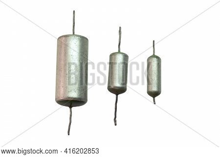 Electronic Elements Of Circuit Of  Tube Sound-amplifying Equipment Set Of Vintage Metal-paper Capaci