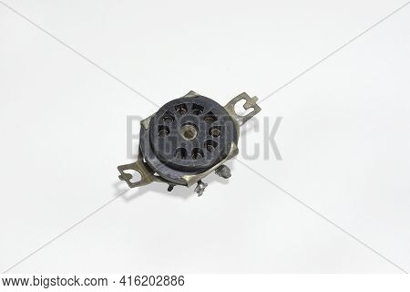 Pin Socket With Chassis-mount. 9-pin Black Vintage Connector For Vacuum Tube, Removed From Old Appli