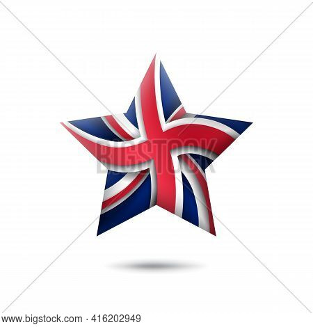 Great Britain Flag Icon In The Shape Of Star. Waving In The Wind. Abstract Flag Of United Kingdom. U