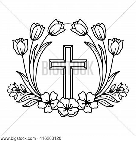 Religious Wreath With Cross, Vector Flower Cross, Faith Cross