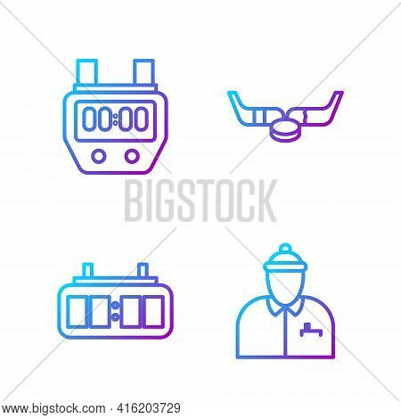 Set Line Hockey Coach, Hockey Mechanical Scoreboard, Stopwatch And Ice Hockey Sticks And Puck. Gradi