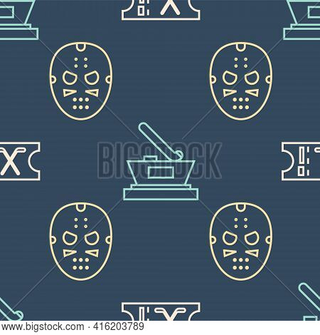 Set Line Hockey Sports Ticket, Hockey Mask And Ice Hockey Cup Champion On Seamless Pattern. Vector