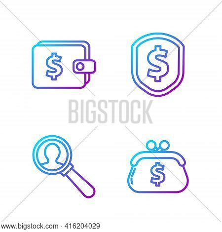 Set Line Wallet With Dollar, Magnifying Glass For Search A People, Wallet With Dollar And Shield Wit