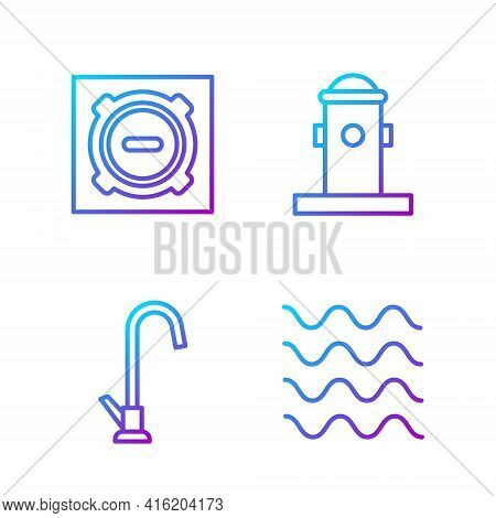Set Line Wave, Water Tap, Manhole Sewer Cover And Fire Hydrant. Gradient Color Icons. Vector